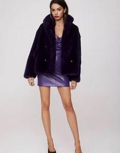 X Emrata Magic Touch Faux Fur Jacket