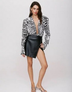 X Emrata Take the Lead Faux Leather Mini Skirt