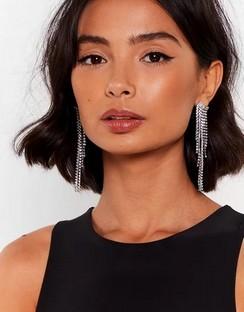 X Emrata In Full Swing Diamante Drop Earrings