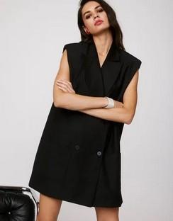 X Emrata Take It or Sleeve It Sleeveless Blazer Dress