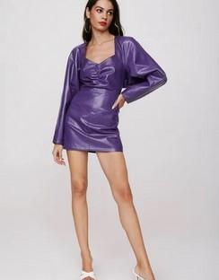X Emrata Take the Lead Faux Leather Mini Dress