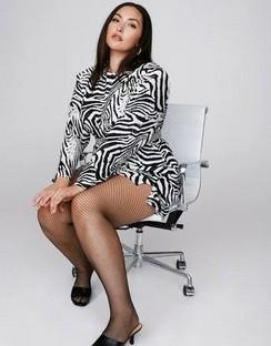 X Emrata Wild Streak Zebra Plus Dress