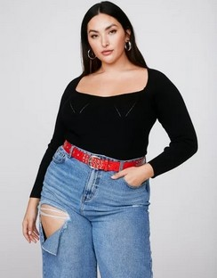 X Emrata Talking Body Plus Knitted Bodysuit