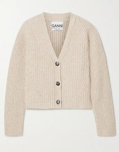 Cropped Ribbed Wool-blend Cardigan