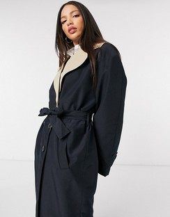 Tall Contrast Trench Coat in Black and Stone