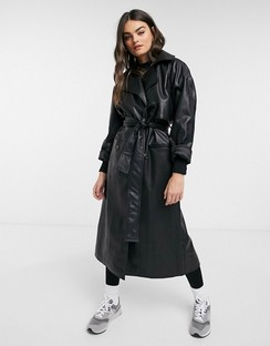 Elli Faux-leather Trench in Black