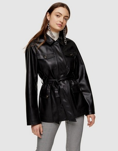 Faux Leather Tie Shirt - Tops