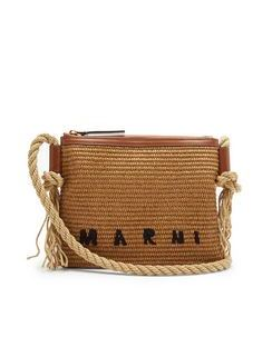 Matting Leather-trimmed Faux-straw Pouch