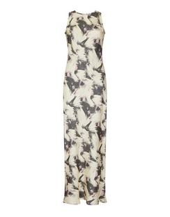 Valencia Cream Printed Silk Bias Cut Slip Dress