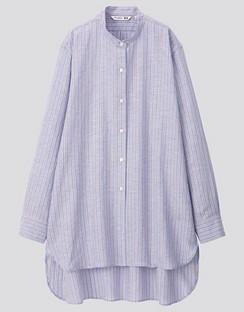 JWA Linen Blend Stand Collar Long Sleeve Shirt