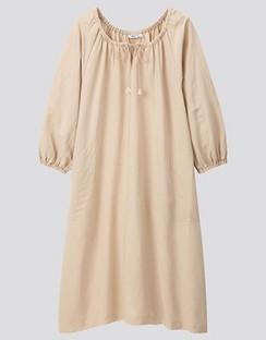 JWA Linen Blend Gather 3/4 Sleeve Dress