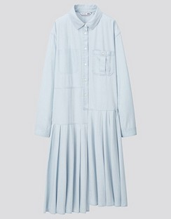 JWA Pleated Long Sleeve Shirt Dress