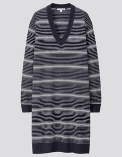 JWA Linen Blend V Neck Long Sleeve Dress
