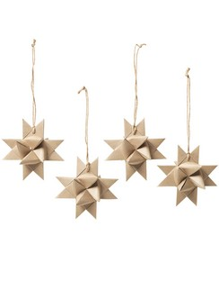 Broste Copenhagen Paper Star Decorations (Set of 4) - Natural