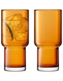 LSA Utility Highball Glasses - 390ml - Amber - Set of 2