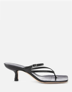 Women's Desiree Leather Toe Post Heeled Sandals - Black