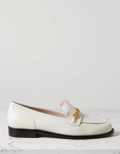 Chain-embellished Leather Loafers