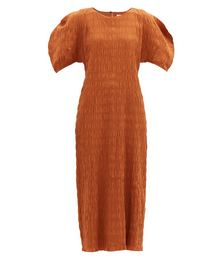 Aranza Shirred Organic Cotton-blend Dress