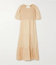 + NET SUSTAIN Alberte Open-back Shirred Linen Midi Dress
