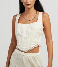 Lilith Frayed Linen Corset
