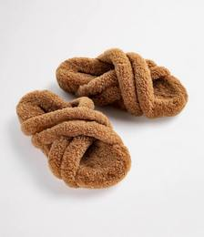 Huffy Tan Shearling Sandals