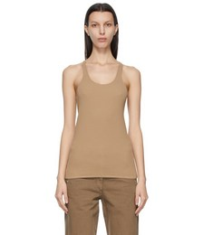 Brown Crêpe Jersey Tank Top