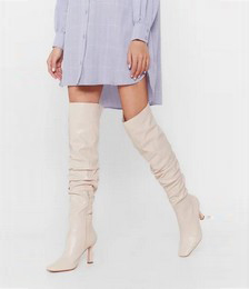Ask Me Thigh High Slouchy Heeled Boots