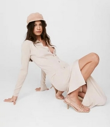 Knit's All for You Button-Down Midi Dress