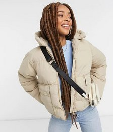 Tulip Hooded Puffer Jacket in Stone