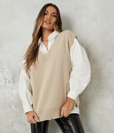 Petite Stone V Neck Sleeveless Knitted Tunic