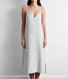100% French Flax Linen Midi Dress in Pinstripe