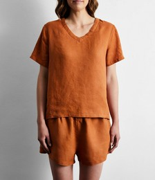 100% French Flax Linen T-Shirt in Rust