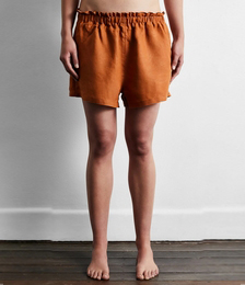 100% French Flax Linen Shorts in Rust
