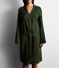 100% French Flax Linen Robe in Olive
