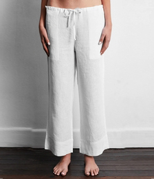 100% French Flax Linen Pants in White