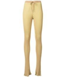 Striped rib knit trousers