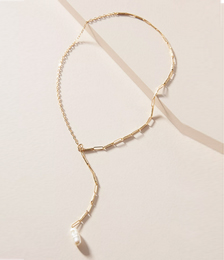 Demetra Half-&-Half Pearl Lariat Necklace