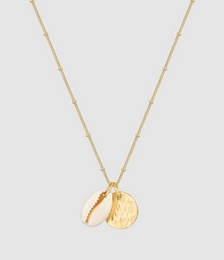 Necklace Platelet Pendant Cowrie shell 925 Sterling Silver Gold Plated