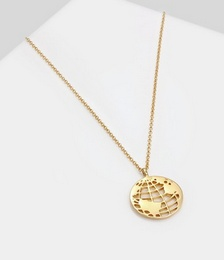 Necklace Globe Pendant Platelet in 925 Sterling Silver Gold Plated