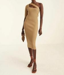 One Shoulder Rib Knit Dress