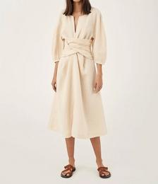 Linen Twist Front Dress