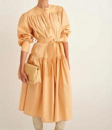 Long Sleeve Gathered Dress