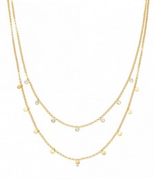 Moonstone Double Droplet Necklace in Yellow Gold Vermeil