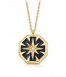 Celestial Black Enamel Dial Locket Necklace in Yellow Gold Vermeil