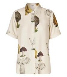 Mushroom Print Silk Shirt