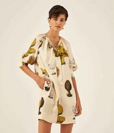 Mushroom Print Silk Dress