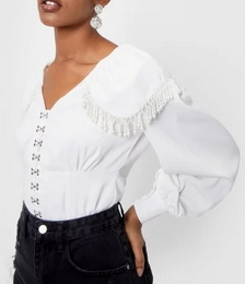 Pearl Hook and Eye V Neck Blouse