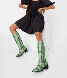 Faux Leather Snake Print Cowboy Boots