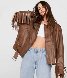 Leather Belted Fringed Moto Jacket