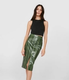 Faux Leather Snake Print Slit Midi Skirt